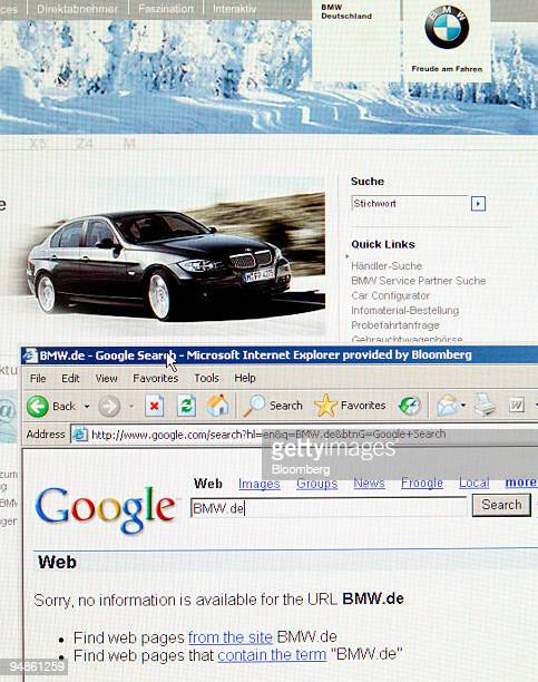 BMW's German Web site's home page top is pictured above a results page from Google Inc's search engine bottom showing no information about BMW's...