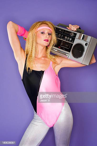80's girl and a ghetto blaster