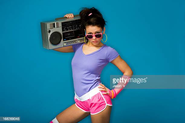 1980's girl with boom box