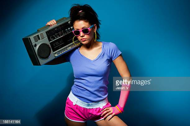 1980's girl with ghetto blaster