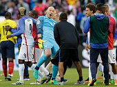 USA's goalkeeper Brad Guzan celebrates after defeating Ecuador 21 in their Copa America Centenario football tournament quarterfinal match in Seattle...