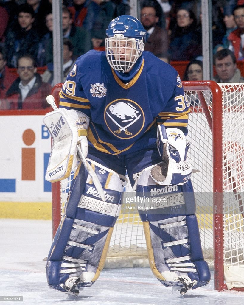 MONTREAL 1990's Goaltender Dominik Hasek of the Buffalo Sabres protects the net against the Montreal Canadiens in the 1990's at the Montreal Forum in...