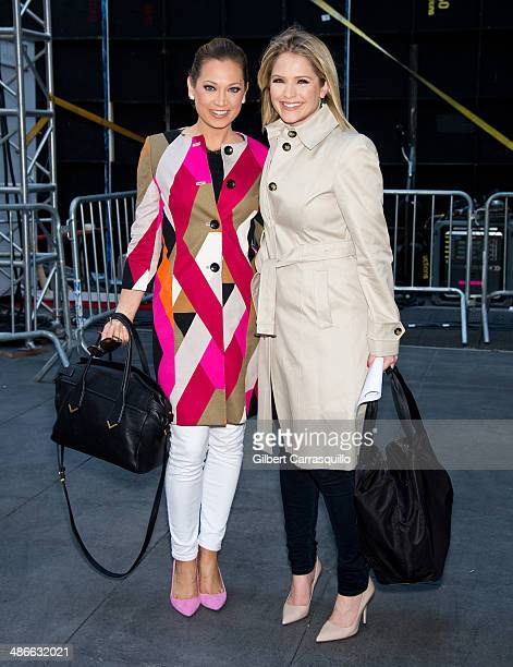 ABC's 'Good Morning America' Ginger Zee and Sara Haines attend 'The Amazing SpiderMan 2' premiere at the Ziegfeld Theater on April 24 2014 in New...