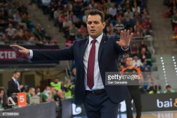 CSKA's greek Head Coach Dimitris Itoudis asks calm during the Turkish Airlines Euroleague Basketball Playoff 3rd game between Baskonia Vitoria...