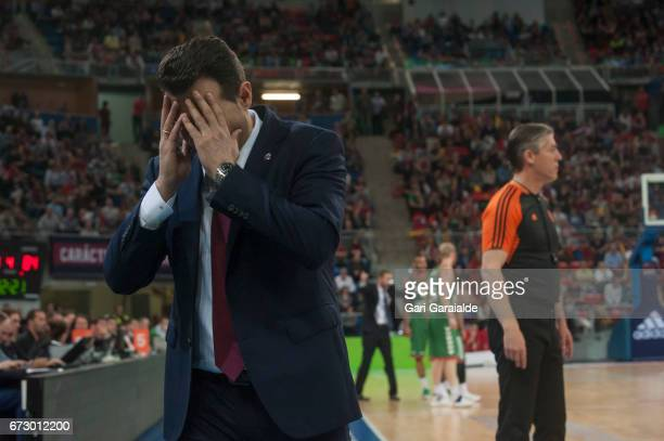 CSKA's Greek Head Coach Dimitris Itoudis with the hands on his head during the Turkish Airlines Euroleague Basketball Playoff 3rd game between...