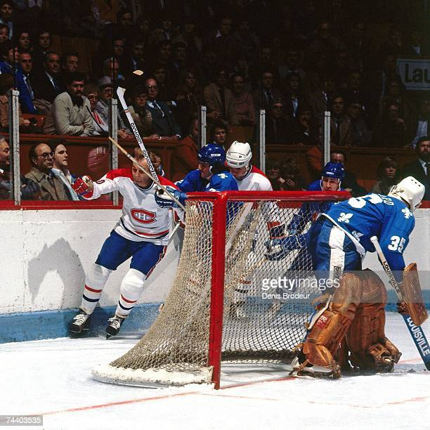 MONTREAL QC 1980's Guy Lafleur of the Montreal Canadiens skates behind the net against the Quebec Nordiques during an NHL game in Montreal Canada