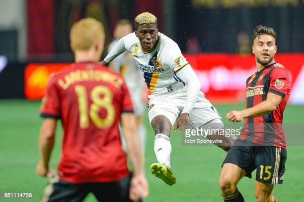 LA's Gyasi Zardes attempts a shot during a match between Atlanta United and LA Galaxy on September 20 2017 at MercedesBenz Stadium in Atlanta GA...