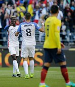 USA's Gyasi Zardes celebrates with teammate Clint Dempsey after scoring against Ecuador during their Copa America Centenario football tournament...