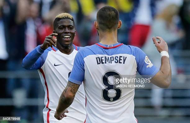 USA's Gyasi Zardescelebrates with Clint Dempsey after scoring against Ecuador during their Copa America Centenario football tournament quarterfinal...