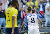 USA's Gyasi Zardescelebrates with Clint Dempsey after scoring against Ecuador during their Copa America Centenario football tournament quarterfinal...