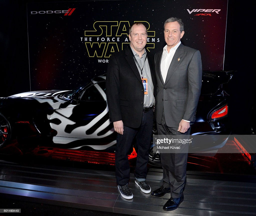 FCA's Hal Wurster (L) and Chairman and CEO, The Walt Disney Company, <a gi-track='captionPersonalityLinkClicked' href=/galleries/search?phrase=Bob+Iger&family=editorial&specificpeople=171211 ng-click='$event.stopPropagation()'>Bob Iger</a> attend the premiere of Walt Disney Pictures and Lucasfilm's 'Star Wars: The Force Awakens', sponsored by Dodge, at the Dolby Theatre, TCL Chinese Theatre and El Capitan Theatre on December 14, 2015 in Hollywood, California.