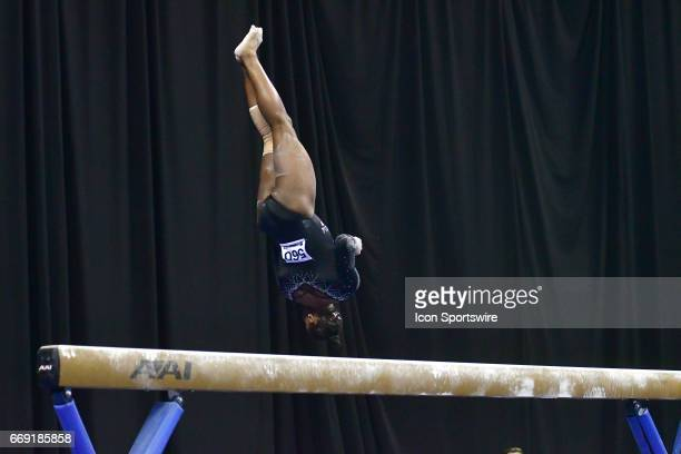 UCLA's Hallie Mossett performs on the balance beam during the finals of the NCAA Women's Gymnastics National Championship on April 15 at Chaifetz...