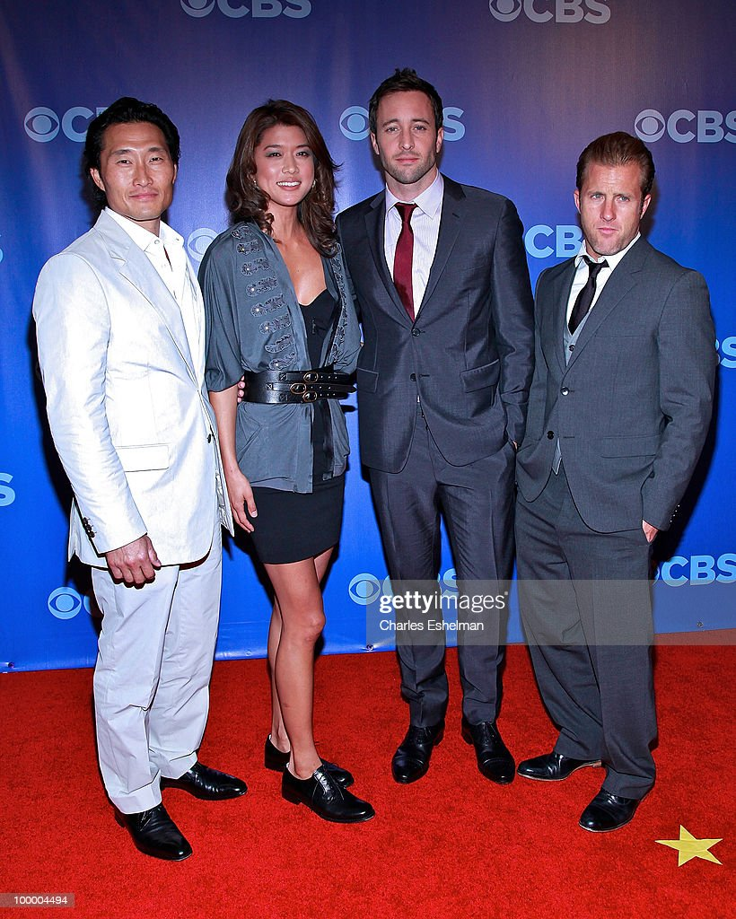 CBS's 'Hawaii Five-O' actors <a gi-track='captionPersonalityLinkClicked' href=/galleries/search?phrase=Daniel+Dae+Kim&family=editorial&specificpeople=581168 ng-click='$event.stopPropagation()'>Daniel Dae Kim</a>, Grace Park, <a gi-track='captionPersonalityLinkClicked' href=/galleries/search?phrase=Alex+O%27Loughlin&family=editorial&specificpeople=4413173 ng-click='$event.stopPropagation()'>Alex O'Loughlin</a> and Scott Cann attend the 2010 CBS UpFront at Damrosch Park, Lincoln Center on May 19, 2010 in New York City.