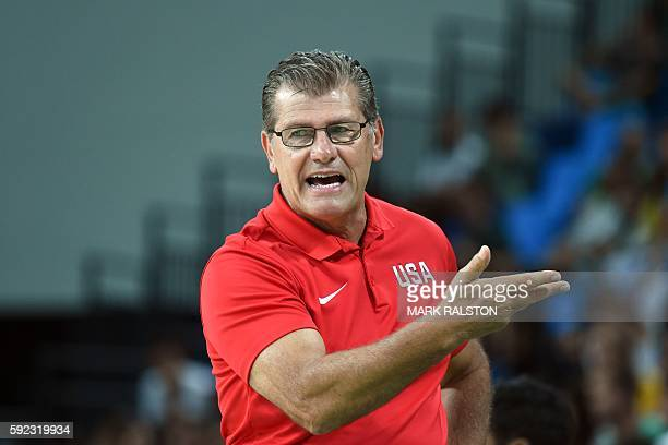 USA's head coach Geno Auriemma gestures during a Women's Gold medal basketball match between USA and Spain at the Carioca Arena 1 in Rio de Janeiro...