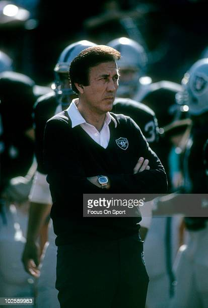LOS ANGELES CA CIRCA 1980's Head Coach Tom Flores of the Los Angeles Raiders in this portrait circa mid 1980's before the start of an NFL football...