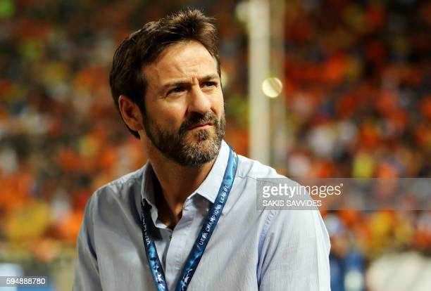 APOEL's headcoach Thomas Christiansen looks on during the UEFA Champions League group stages playoff football match between Cyprus' APOEL Nicosia and...