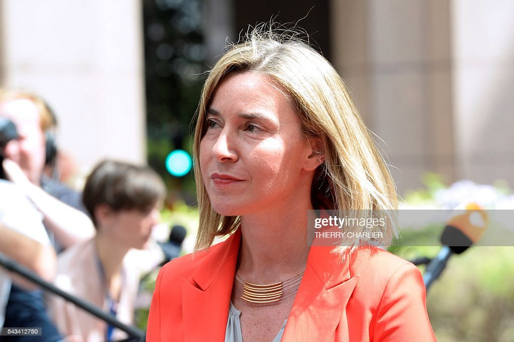EU's High representative for foreign affairs and security policy Federica Mogherini arrives before an EU summit meeting on June 28, 2016 at the European Union headquarters in Brussels. / AFP / THIERRY