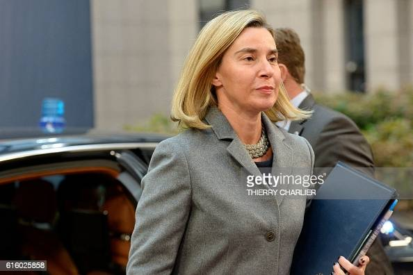 EU's High representative for foreign affairs and security policy Federica Mogherini arrives for the second day of an European Union leaders summit to...