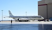 NASA's highly modified Douglas DC8 jetliner which operates as a flying science laboratory is brought into a hangar at the Armstrong Flight Research...