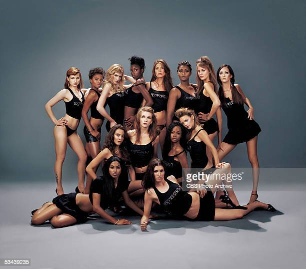 UPN's hit drama/reality series AMERICA'S NEXT TOP MODEL participants for cycle three pose for a group photo Back Row Nicole Borud Eva Marcelle...