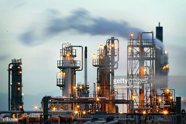 BP's Huge oil refinery complex continues it's 24 hour production of petroleum and gas November 1 2004 at Grangemouth in central Scotland Continuing...
