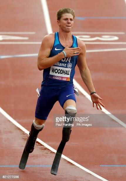 USA's Hunter Woodhall during the Men's 4x100m Relay T4247 during day ten of the 2017 World Para Athletics Championships at London Stadium