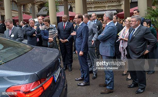 BMW's Ian Robertson gives details of the company's project on auto piloted cars to G7 Transport ministers in Frankfurt Germany 16 September 2015 on...