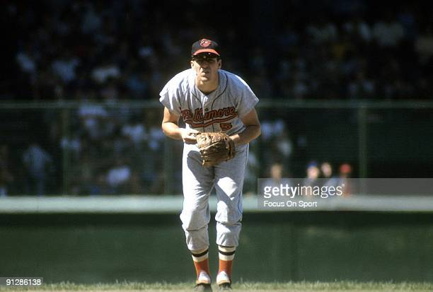 CIRCA 1960's Infielder Brooks Robinson of the Baltimore Orioles is ready for action at third base during a Major League Baseball game circa late...