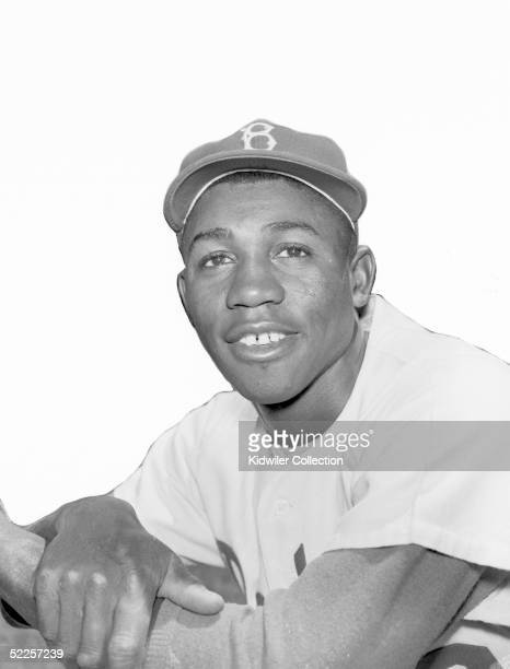 BROOKLYN NY 1950's Infielder Jim Gilliam of the Brooklyn Dodgers poses for a portrait circa 1950's at Ebbets Field in Brooklyn New York Gilliam...