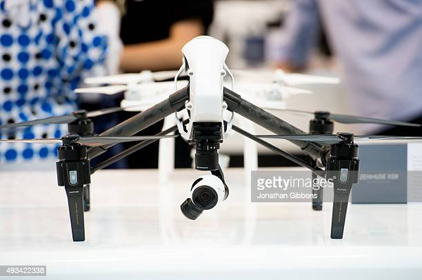 DJI's Inspire drone is seen at the 35th GITEX Technology Week at Dubai World Trade Centre on October 18 2015 in Dubai United Arab Emirates