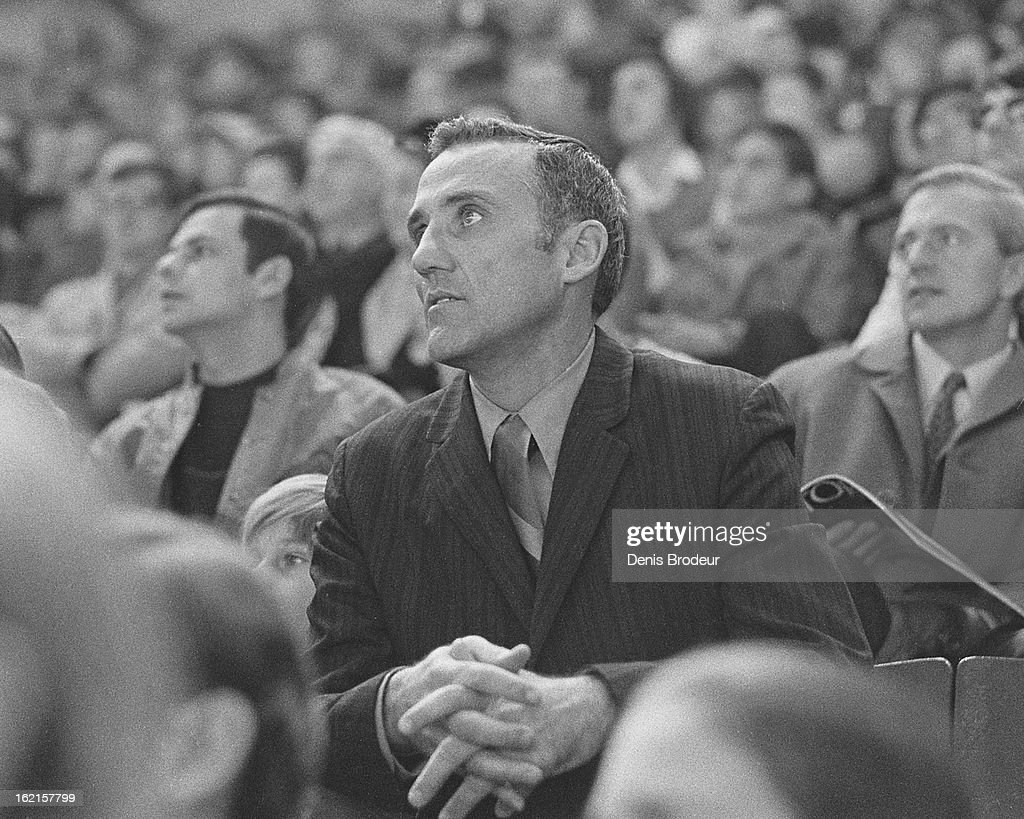 <a gi-track='captionPersonalityLinkClicked' href=/galleries/search?phrase=Jacques+Plante&family=editorial&specificpeople=227203 ng-click='$event.stopPropagation()'>Jacques Plante</a> looks on from the stands during a game at the Montreal Forum circa the 1970's in Montreal, Quebec, Canada.