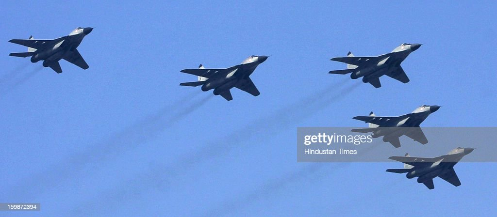 IAF's Jaguar fighter planes fly past during rehearsal for the Republic Day parade 2013 at Rajpath on January 21, 2013 in New Delhi, India.