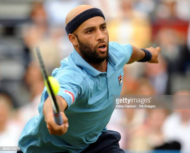 USA's James Blake in action during his winning 3rd round singles match against Sam Querrey during day four of the AEGON Championships at The Queen's...