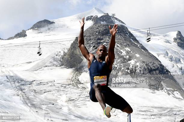 USA's Jeff Henderson competes in the men's long jump during 'The Jump of the Giants' Tignes Athletics Open at the foot of the Tignes glacier 3032m...