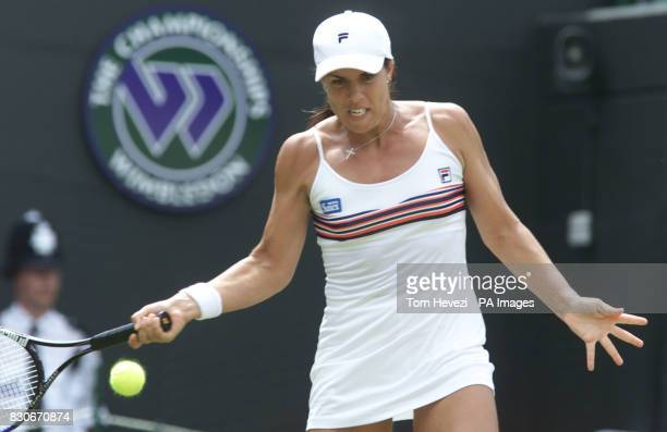 USA's Jennifer Capriati in action against Sandrine Testud of France during their Fourth Round match of the 2001 Lawn Tennis Championships at...