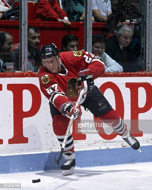 MONTREAL 1990's Jeremy Roenick of the Chicago Blackhawks skates against the Montreal Canadiens skates in the early 1990's at the Montreal Forum in...