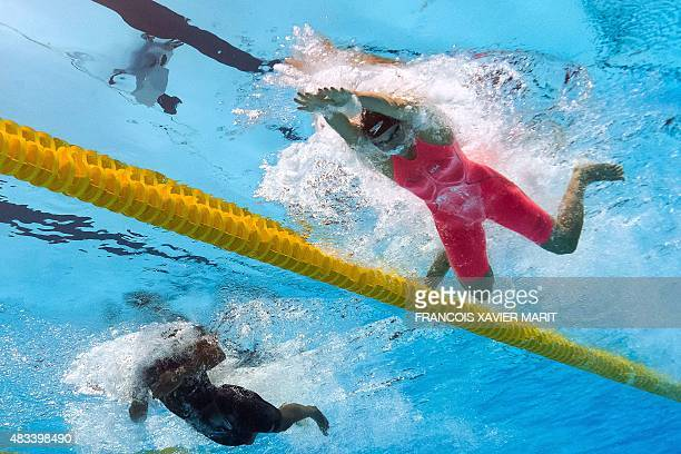 USA's Jessica Hardy competes in the semifinals of the women's 50m breaststroke swimming event at the 2015 FINA World Championships in Kazan on August...