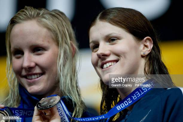 USA's Jessica Hardy with her gold medal and Great Britain's Kate Haywood with her silver medel for the 50 metres breaststroke