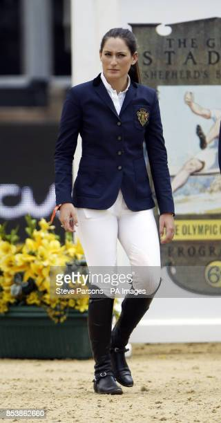 USA's Jessica Springsteen walks the course before riding Lisona competes in the Massimo Dutti Prix during day three of the 2014 Longines Global...