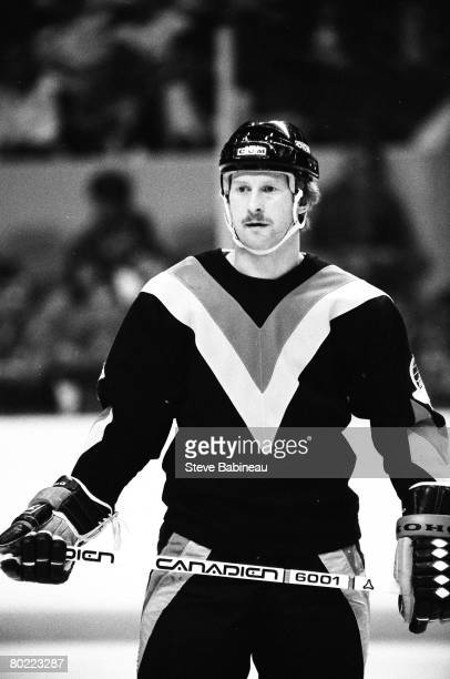 BOSTON MA 1980's Jim Nill of the Vancouver Canucks waits for face off action in game against the Boston Bruins at Boston Garden