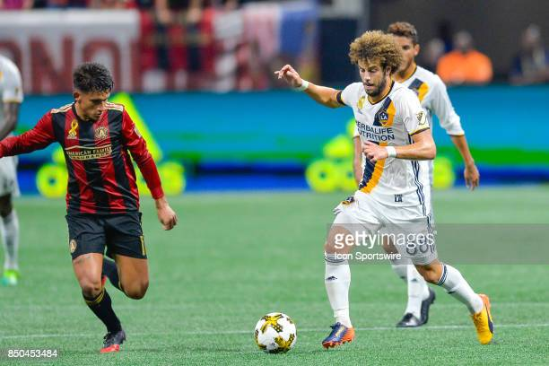 LA's Joao Pedro moves the ball up the field during a match between Atlanta United and LA Galaxy on September 20 2017 at MercedesBenz Stadium in...