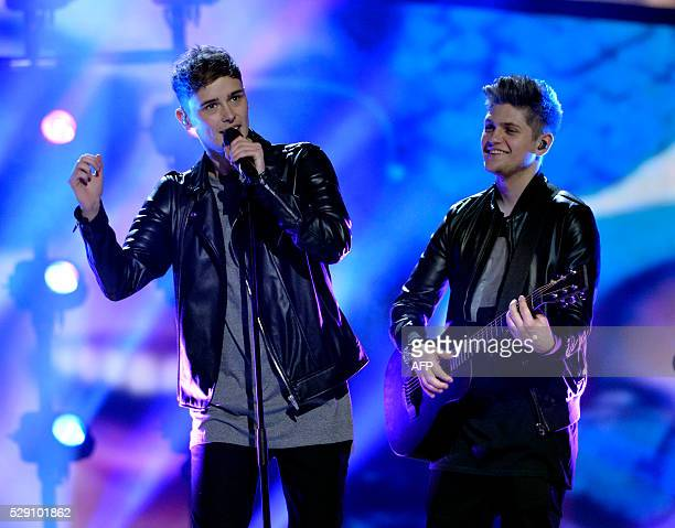 UK's Joe and Jake rehearse the song 'You're Not Alone' at the Ericsson Globe in Stockholm Sweden on May 8 2016 The semifinal of the Eurovision Song...