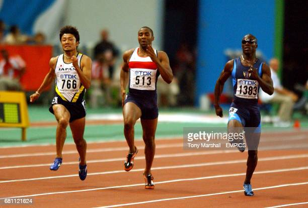 USA's John Capel Great Britain's Darren Campbell and Japan's Shingo Suetsugu in action in the 200m SemiFinal