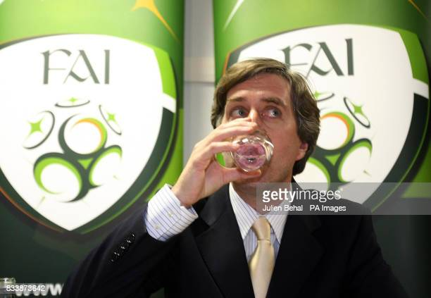 FAI's John Delaney during a press conference at the Crowne Plaza Hotel near Dublin Airport Ireland
