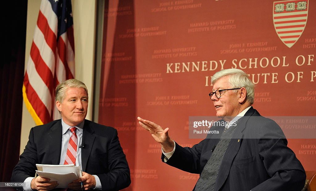 CNN's John King and NRA President David Keene at Harvard's John F. Kennedy Jr. Forum at the Institute of Politics: A Conversation With CNN's Chief National Correspondent John King And the National Rifle Association's President David Keene at The John F. Kennedy School of Government on February 20, 2013 in Cambridge, Massachusetts.