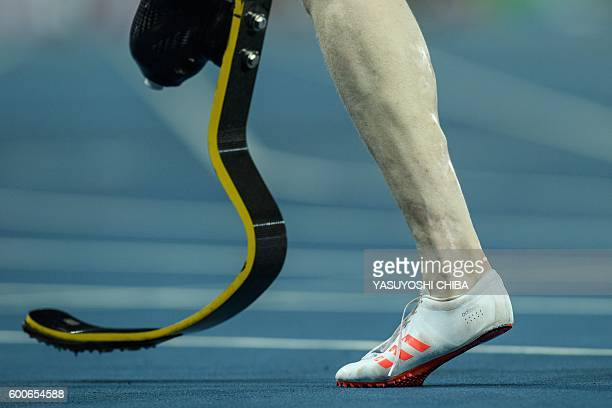 UK's Jonnie Peacock walks after a heat of men's 100 m of the Rio 2016 Paralympic Games at Olympic Stadium in Rio de Janeiro on September 8 2016 / AFP...