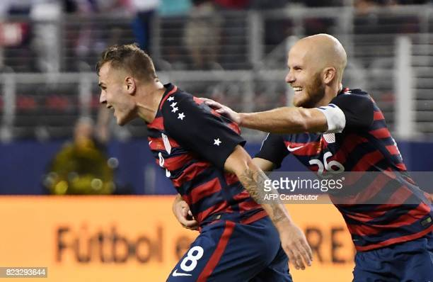 USA's Jordan Morris celebrates with Michael Bradley after scoring a goal against Jamaica during the final football game of the 2017 CONCACAF Gold Cup...