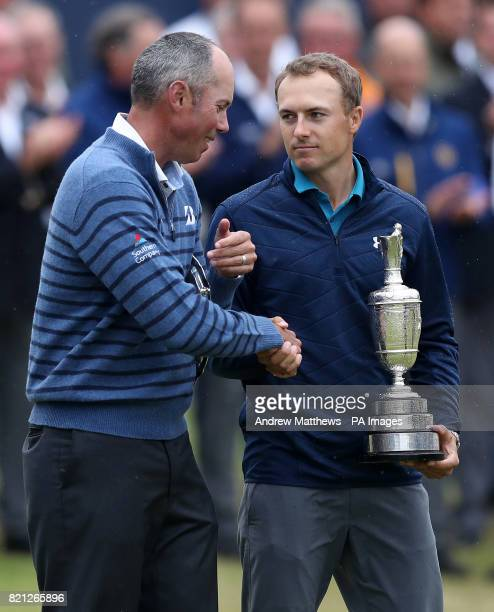 USA's Jordan Spieth celebrates with the Claret Jug after winning The Open Championship 2017 with USA's Matt Kuchar at Royal Birkdale Golf Club...