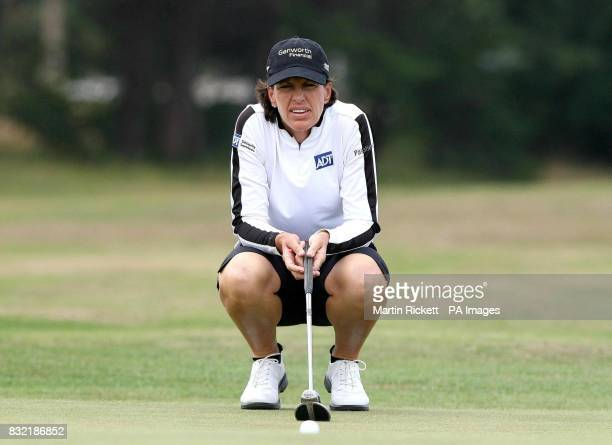 USA's Juli Inkster lines up a putt on the second green during the third round of the Weetabix Women's British Open at Royal Lytham and St Annes...