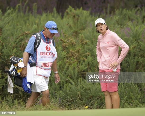 USA's Juli Inkster looks at her shot on the edge of the 12th green where she found the heather and ended taking a doublebogey 6 during Round Two of...